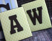Wall Letters, Framed Monogram, Green Nursery Letters, 8x10, Painted Letters, Wood Letters,Monogram, Upholstered Letters, Fabric Letters