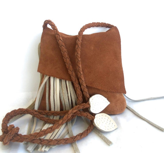 gold brown leather suede handbag messenger with cream off-white fringe and leaves. By Tuscada, ready to ship.