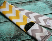 Reversible Camera Strap Cover with Lens Cap Pocket - Riley Blake Yellow and Gray Chevron - Designer Fabric