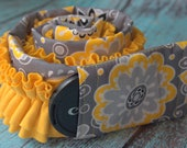 Ruffled Camera Strap Cover Padded with Lens Cap Pocket - Gray and Yellow Big Graphic Flowers with Yellow Ruffle- MADE TO ORDER