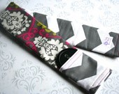 Reversible Camera Strap Cover with Lens Cap Pocket - Pink and Green Damask with Dark Gray Chevron - MADE TO ORDER