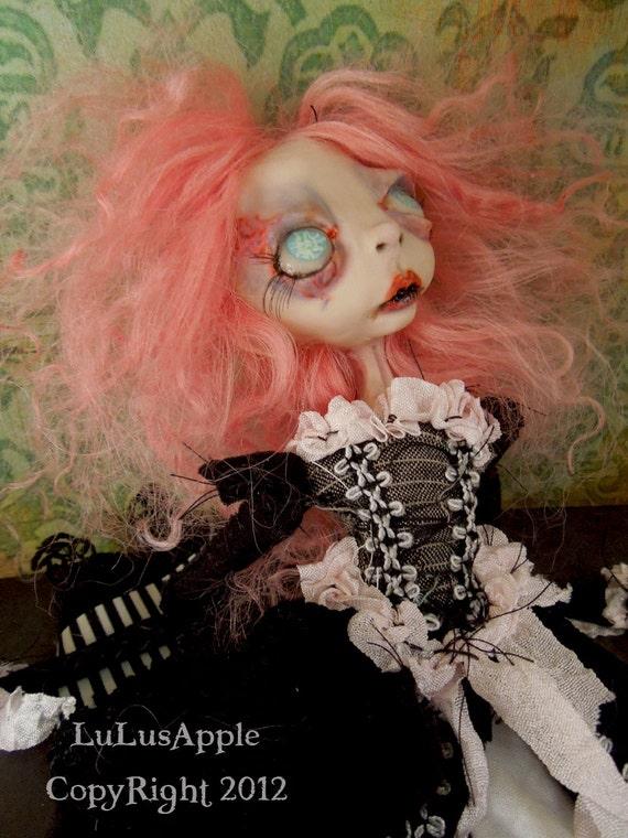 Art Doll Creepy Gothic Lolita OOAK Victorian Goth Doll Tiarella RESERVED