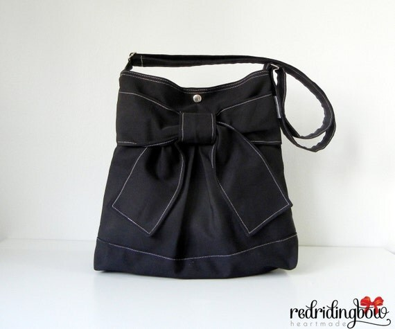 NEW - Pretty Bow Bag in Black With  Adjustable Strap ( Ready To Ship)
