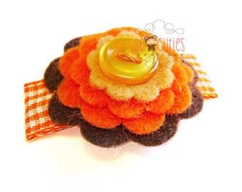Sweet felt flower hair clip / felt hair clip / baby hair clip / girl barrette / thanksgiving hair clip / fall color