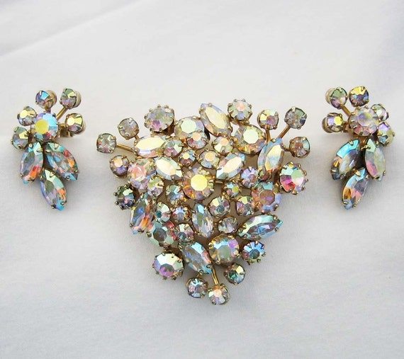 Sherman Aurora Borealis Rhinestone Brooch and Earring Demi