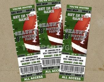 12 Football Birthday Party Ticket Style Invitations