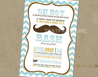 DIY Mustache Bash Party Invitations - Digital U Print