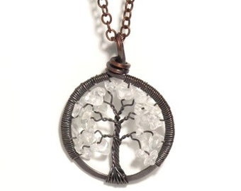 The Petite Winter Tree of Life Antiqued Copper Necklace in Crystal Quartz