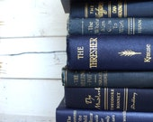 Dark Blue Instant Library Book Collection by Color Bundle Photography Props  Vintage Decorative Books Midnight