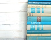 Reserved Aqua Blue & Tan Instant Library Collection Decorative Books Photography Props Turquoise Beige Brown Gold