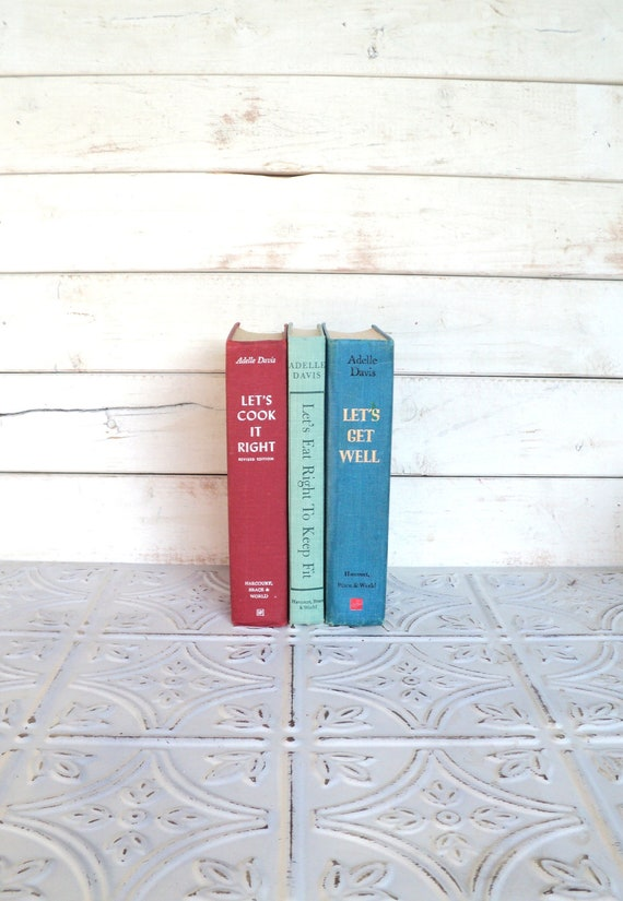Adelle Davis Cookbooks Let's Cook it Right, Let's Get Well Aqua, Mint Green & Red Instant Collection