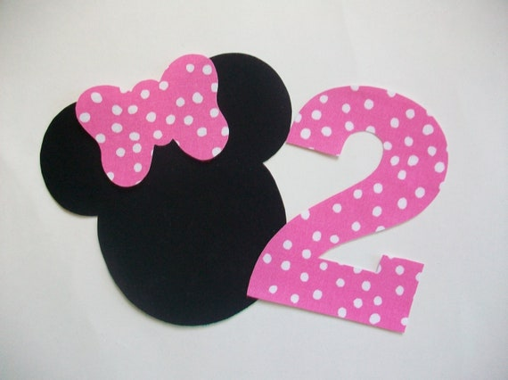 Iron On Minnie Mouse Applique with Bow and Number - Chose Your Number