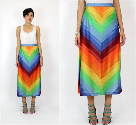1970s rainbow skirt S/M chevron stripe