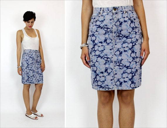 SALE  floral denim wiggle skirt M / bleached floral 5 pocket jean skirt