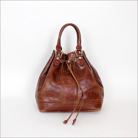 Rossetti mahogany leather cinch bucket bag