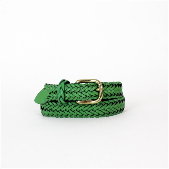 HOLD green braided leather belt s/m