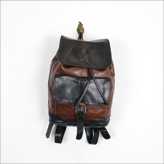 black & brown leather backpack / large drawstring book bag
