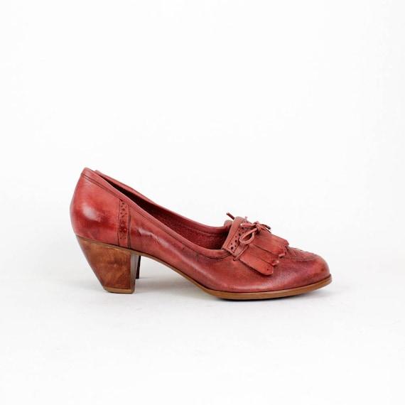 oxblood leather fringe heels 9 Qualicraft