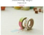 Washi Tape 15mm 2Rolls MASKING TAPE SET Multi Use-Fantasy