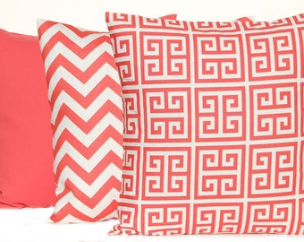 Coral Pillow Covers - Set of Three - Decorative Pillow Covers - Sofa Pillows - Coral Cushion Covers - Coral Chevron Pillow Cover