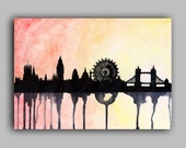 "London Skyline Watercolour Print 8"" x 11.5"" (A4) - Paint the Moment"