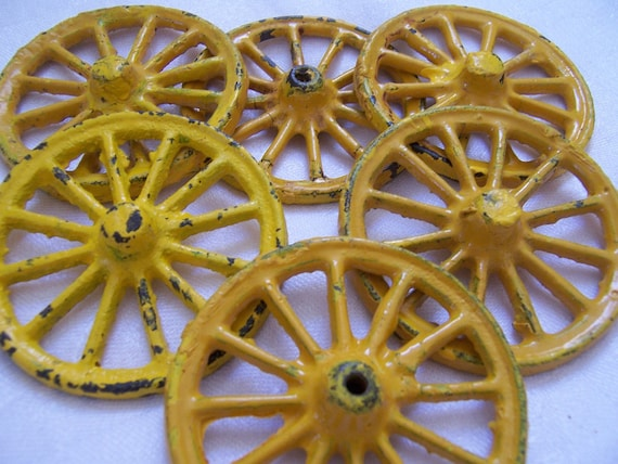 Vintage Toy Cast Iron Wheels - Nine in Lot - Yellow Chippy Paint - Assemblage, Altered, Mixed Media Art