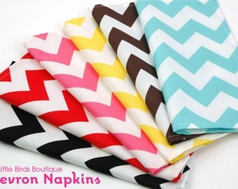 Cloth Napkins 15 Inch Set of 4 in your choice of Black Red Pink Yellow Brown or Turquoise