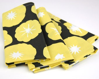 Cloth Napkins 15 Inch Set of 4 in Morning Glory in Charcoal from Violet Craft's Madrona Road
