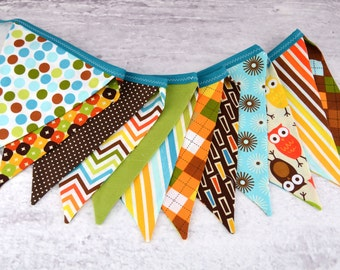 Eco-Friendly Reusable Fabric Bunting, Banner, Pennant, Flag, Garland, Photo Prop, Decoration in Burmuda Remix Owl Chevron