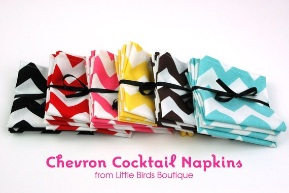 Cloth Napkins 9 inch Set of 4 Lunchbox Cocktail Child Toddler in your choice of Black Red Pink Yellow Brown or Turquoise