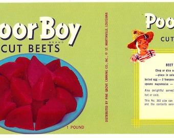 1950's Poor Boy Cut Beets Can Label