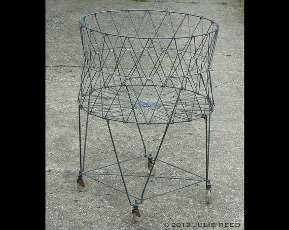 Collapsible Vintage Wire Laundry Basket With Wheels