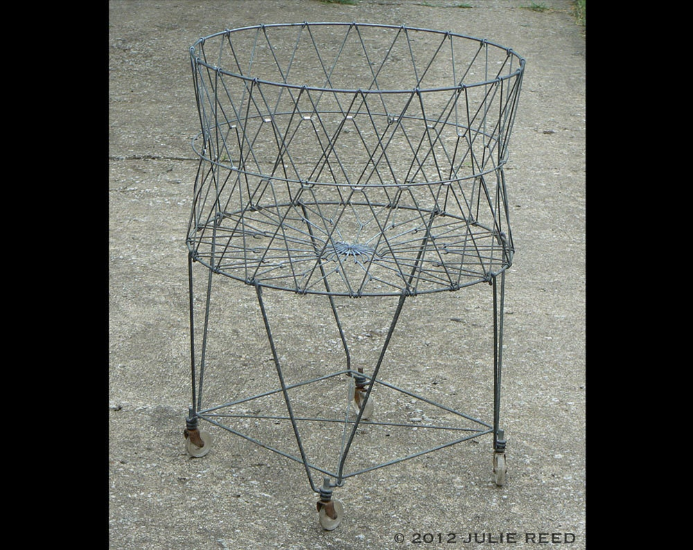 Collapsible vintage wire laundry basket with wheels - Collapsible laundry basket with wheels ...