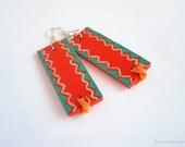 Orange and turquoise wood earrings - tribal pattern jewelry