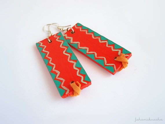 Orange and turquoise wood earrings - tribal pattern jewelry