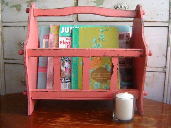 UP-Cycled Vintage Magazine Book Rack Distressed Shabby Farmhouse Cottage
