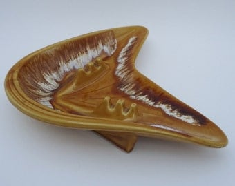 Atomic Era Boomerang Drip Glaze Ashtray Gold Brown White