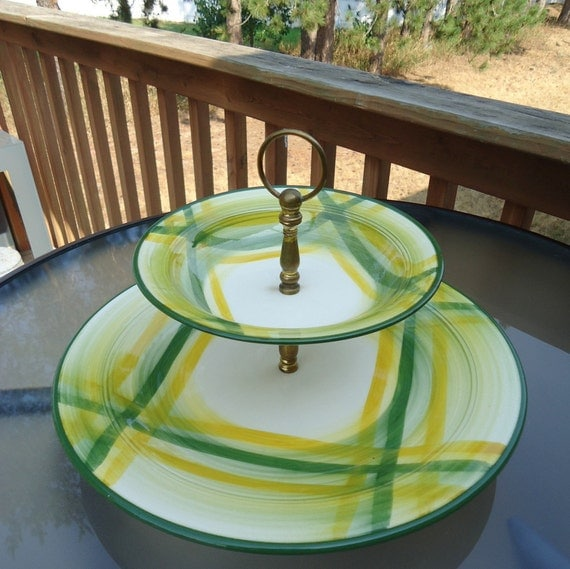 Vernonware Gingham Platter, Tiered Serving Tray 1950s RESERVED LISTING