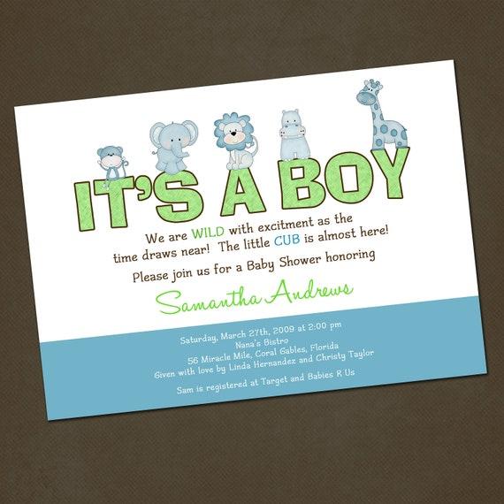 Jungle Animals Baby Shower Invitation You Print
