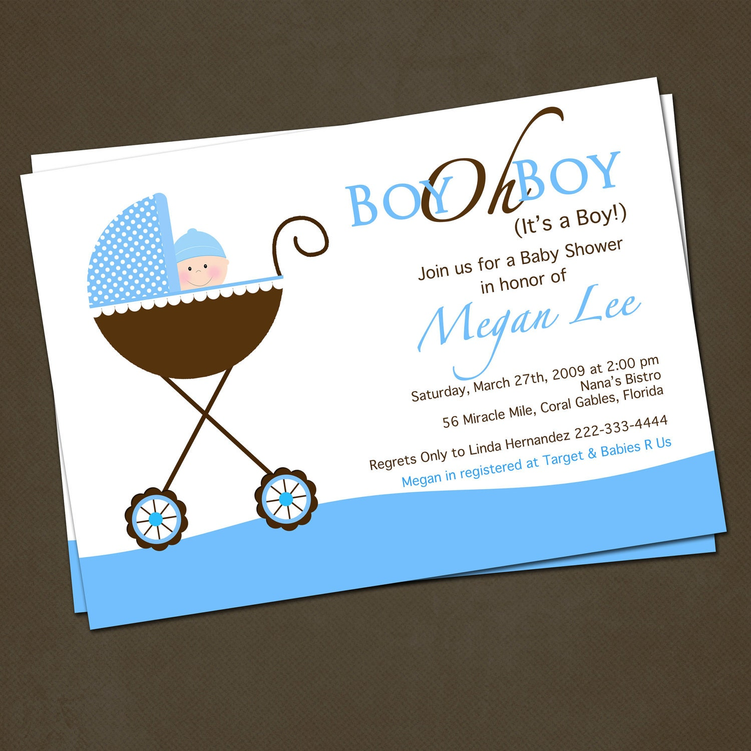 Baby Shower Invitations Wording For Boys: Stroller Baby Shower Invitations For Boy By PinkSkyPrintables