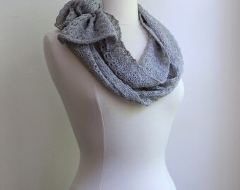 Knitted lace scarf in silver light grey, alpaca / silk blend
