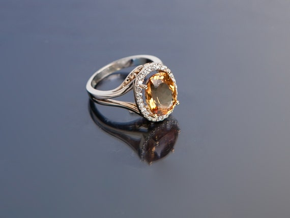 Cyber Monday Sale 25% off - Imperial Golden Topaz and Diamond Ring made with 14k yellow and white gold
