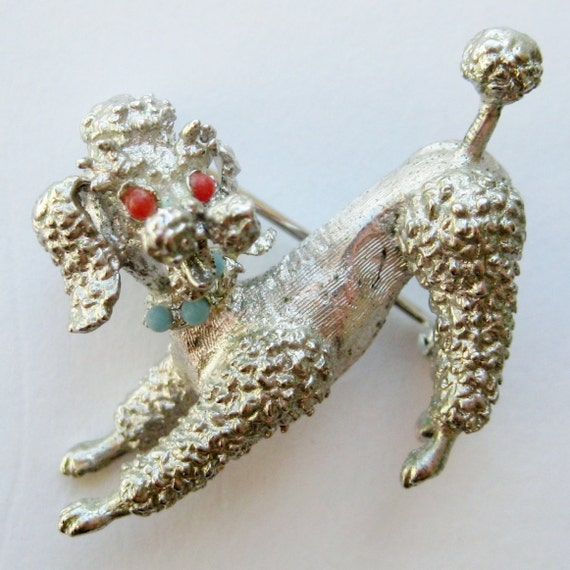 Vintage 40s Alice Caviness Fine Sterling Silver Figural French Poodle Dog Brooch Pin