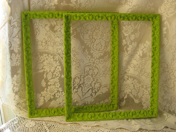 "ornate plaster frame set 16 "" by 18 "" inside apple green shabby cottage country romantic"