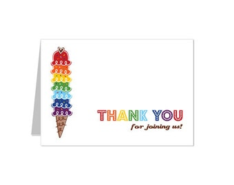 50% Off Sale - PRINTABLE Rainbow Ice Cream Party Thank You Card - INSTANT DOWNLOAD