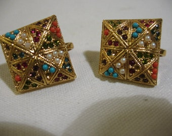 Vintage Gold Plated Pierced Earrings with Coloured Beads, Signed D'ORLAN