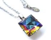 Rainbow Square Swarovski Crystal Necklace
