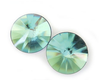 Last Pair Rare Crystal Earrings Pale Blue Green Gold - Pierced or Magnetic Earrings