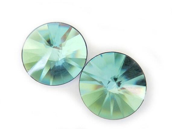 Last Pair Rare Crystal Earrings Pale Blue Green Gold