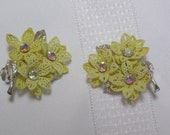 Vintage Yellow Flowers aurora borealis centers...Clip earrings